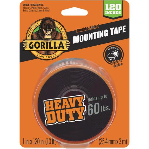 Gorilla 1 In. x 120 In. Black Heavy Duty Double-Sided Mounting Tape (60 Lb. Capacity)