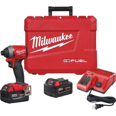 Milwaukee M18 FUEL 18 Volt XC Lithium-Ion Brushless 1/4 In. Hex Cordless Impact Driver Kit (with 2 Batteries)