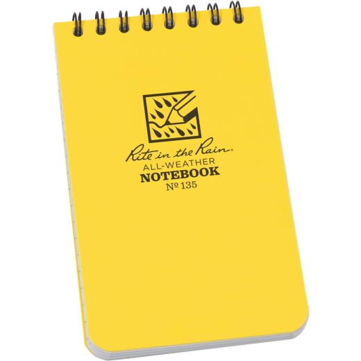 Rite in the Rain 3 In. W x 5 In. H Yellow 50-Sheet Top Spiral Bound All-Weather Memo Pad