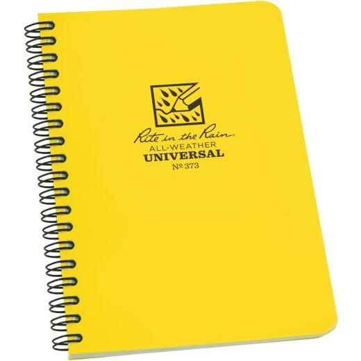 Rite in the Rain All-Weather 4-7/8 In. W x 7 In. H 32-Sheet Side-Spiral Bound Notebook, Yellow