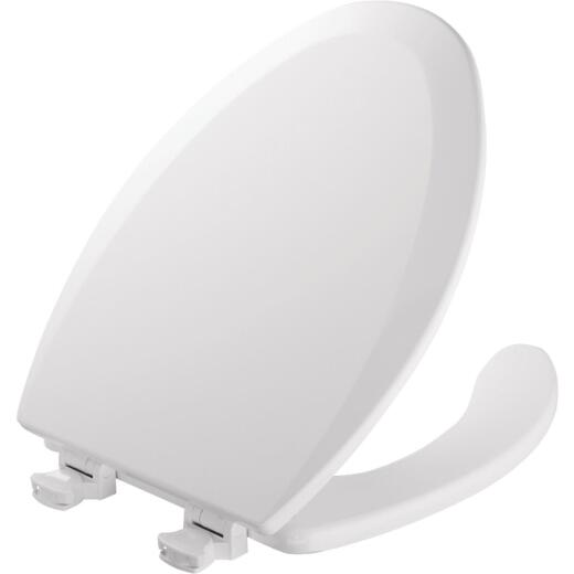 Mayfair Commercial Elongated Open Front White Toilet Seat with Cover