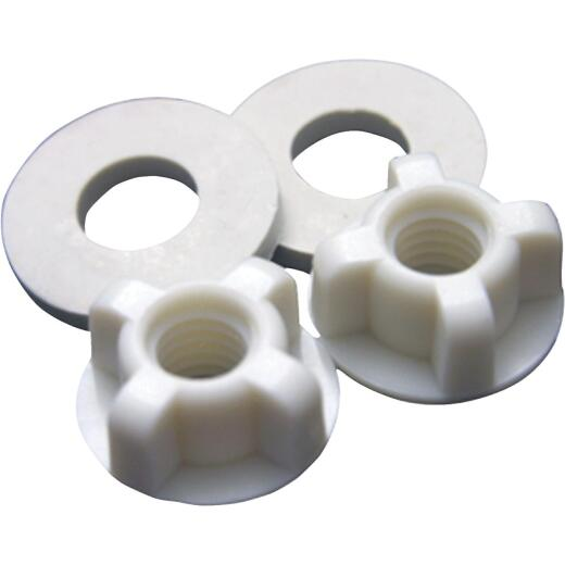 """Lasco 3/8"""" White Plastic Toilet Seat Bolt, Includes Nuts and Washers"""