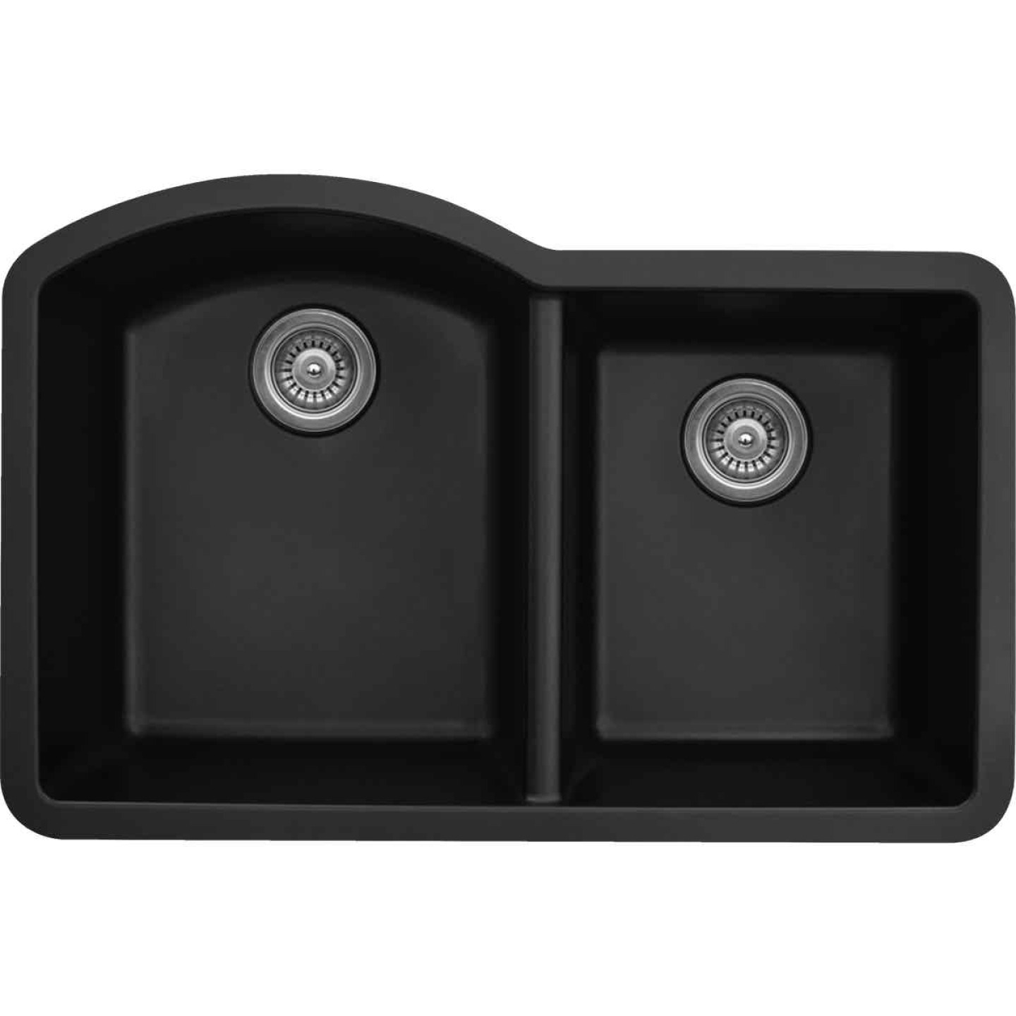 Karran Double Bowl 32 In. x 21 In. x 9 In. Deep Satin Black Quartz Kitchen Sink, Undermount Image 1
