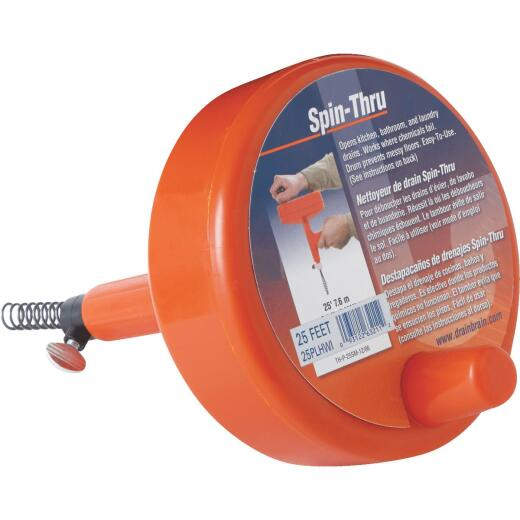 General Wire 1/4 In. x 25 Ft. Plastic Spin Through Drain Auger
