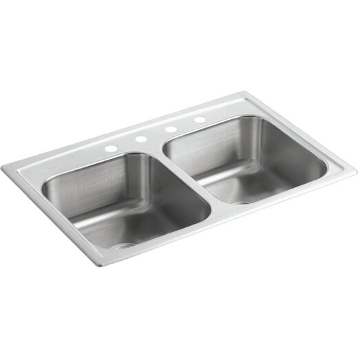 Kohler Toccata Double Bowl 33 In. x 22 In. x 8 In. Deep Stainless Steel Kitchen Sink