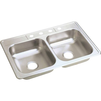 Elkay Double Bowl 33 In. x 22 In. x 6 In. Deep Luster Stainless Steel Kitchen Sink