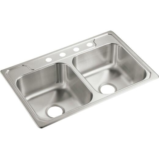 Sterling Middleton Double Bowl 33 In. x 22 In. x 7 In. Deep Stainless Steel Kitchen Sink