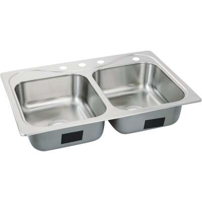 Sterling Southhaven Double Bowl 33 In. x 22 In. x 7 In. Deep Stainless Steel Kitchen Sink