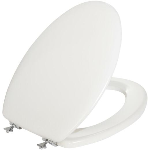 Mayfair Elongated Closed Front Premium White Wood Beveled Toilet Seat with Chrome Hinges