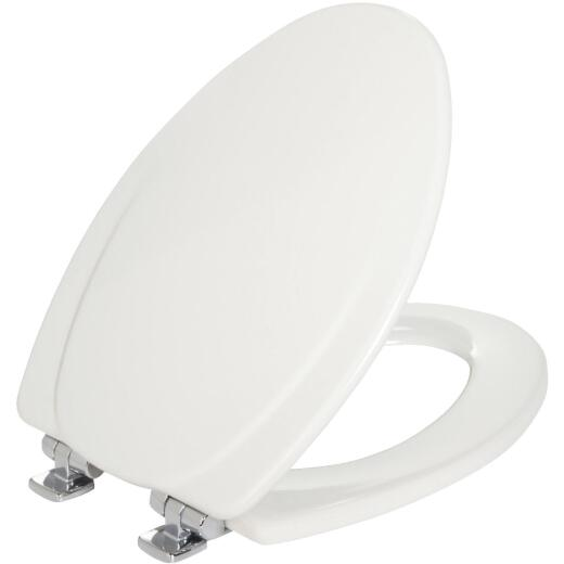 Mayfair Elongated Closed Front Slow-Close White Wood Toilet Seat