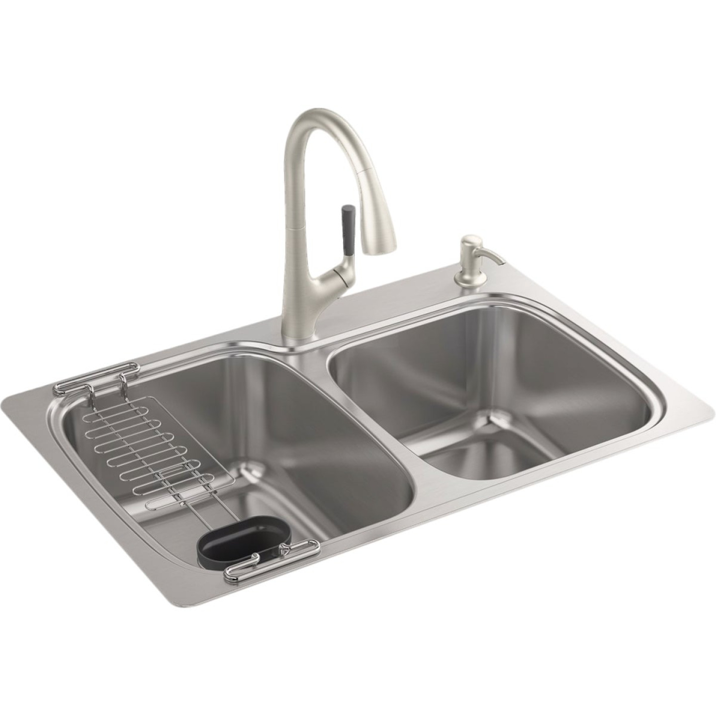 Kohler All-in-One Double Bowl 33 In. x 22 In. x 9 In. Deep Stainless Steel Kitchen Sink Kit, Top/Under Mount Image 1