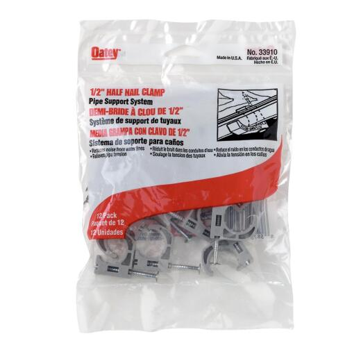 Oatey Insulator 1/2 In. Plastic Nail-On Pipe Half Clamp, (12-Pack)