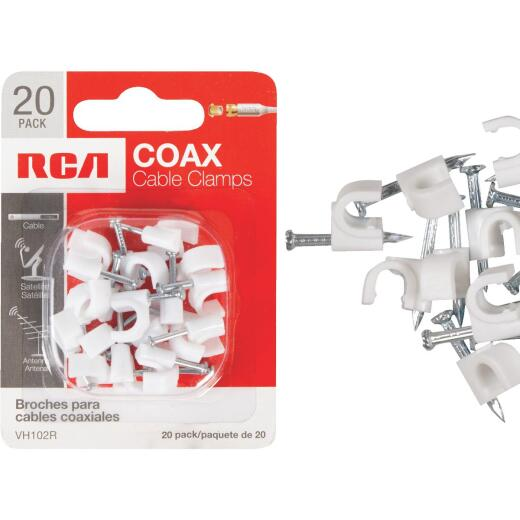 RCA White RG6 or RG59 Nail-In Coaxial Staple (20-Count)