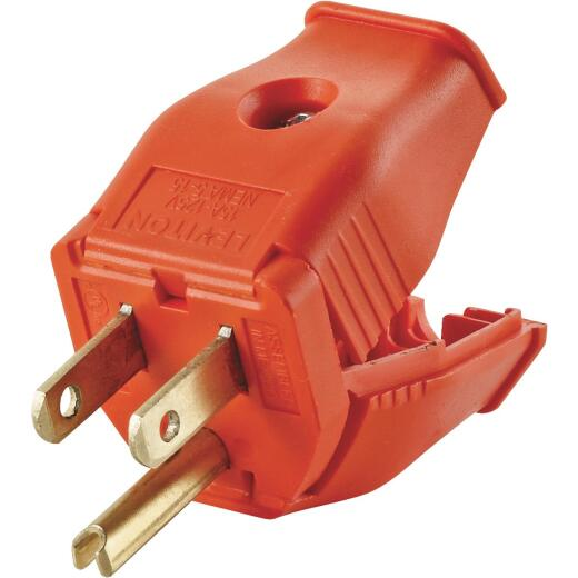 Leviton 15A 125V 3-Wire 2-Pole Clamp Tight Cord Plug, Orange