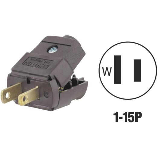 Leviton 15A 125V 2-Wire 2-Pole Clamp Tight Cord Plug, Brown