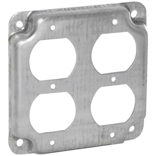 Raco 2-Duplex Receptacles 4 In. x 4 In. Square Device Cover