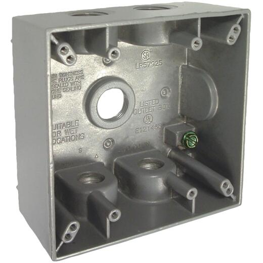 Bell 2-Gang 1/2 In. 5-Outlet Gray Aluminum Weatherproof Outdoor Outlet Box, Carded