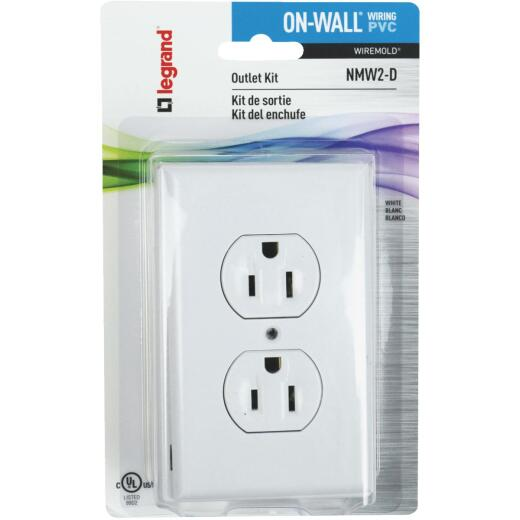 Wiremold On-Wall White PVC 1 In. Outlet Box Kit