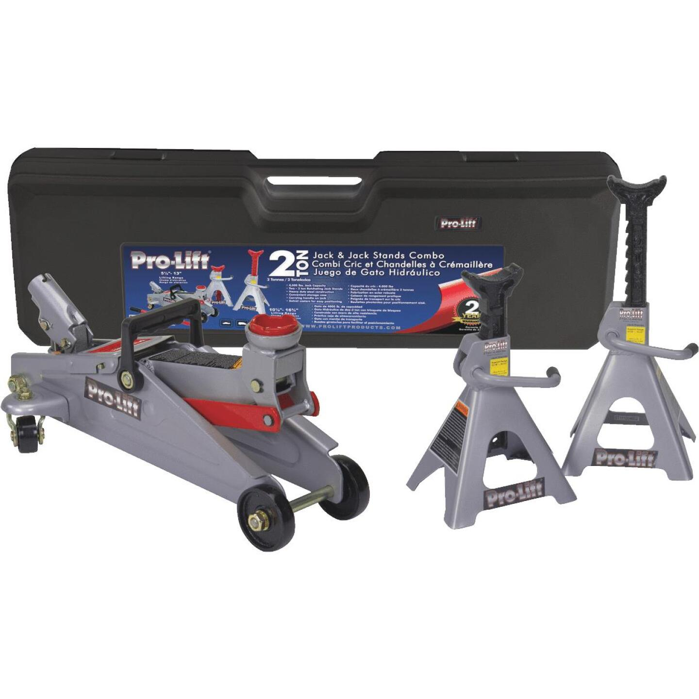 Pro-Lift 2-Ton Service Floor Jack with Jack Stands Image 1