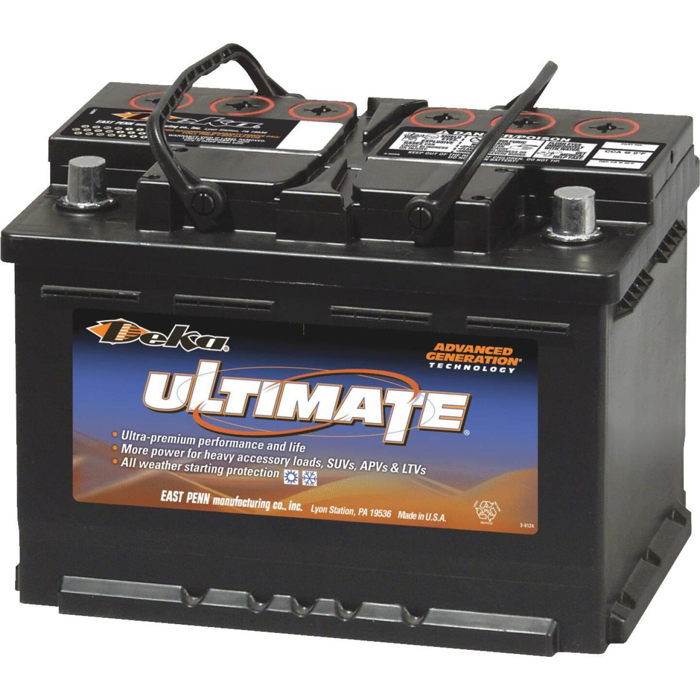 Deka Ultimate 12-Volt 730 CCA Automotive Battery, Top Post Right Front Positive Terminal Image 1