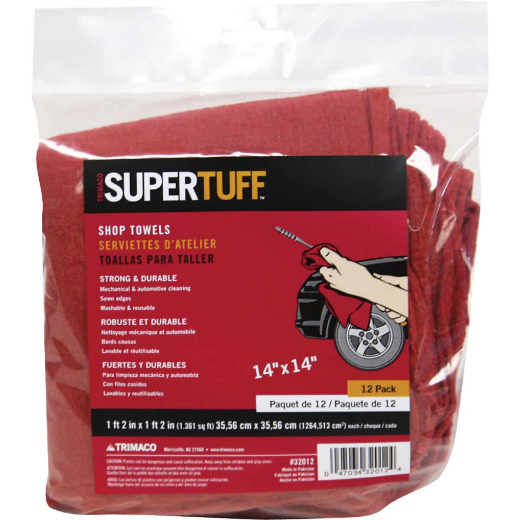 Trimaco SuperTuff 14 In. Square Washable Shop Towel (12-Pack)