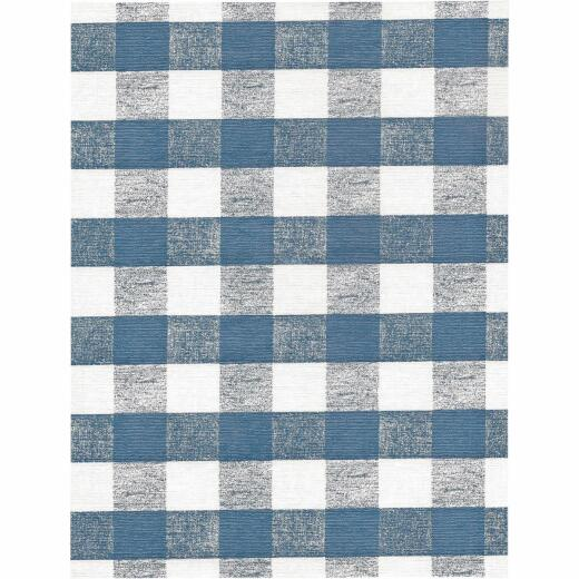 Nordic Shield 54 In. W. x 15 Yd. L. Chess Check Blue Flannel Backed Vinyl Tablecloth