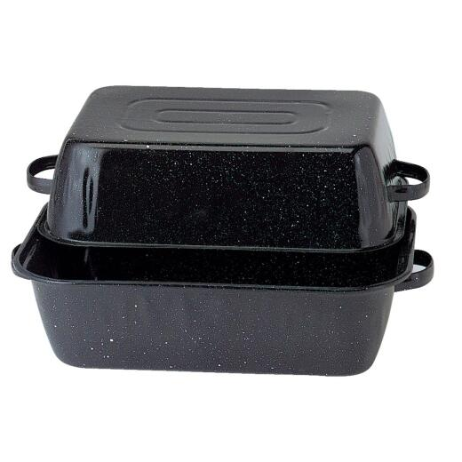 GraniteWare 21 In. Black Covered Rectangle Roaster