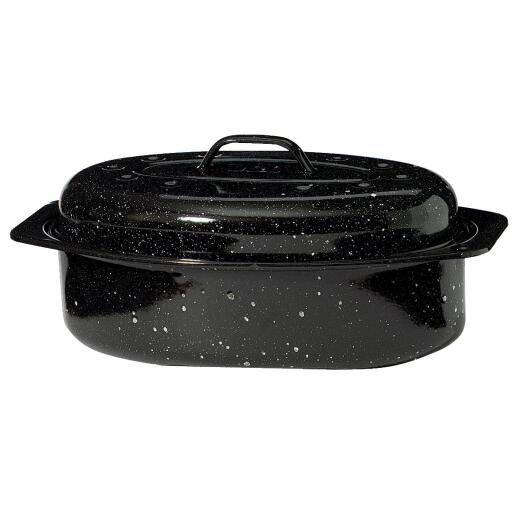 GraniteWare 13 In. Black Covered Oval Roaster