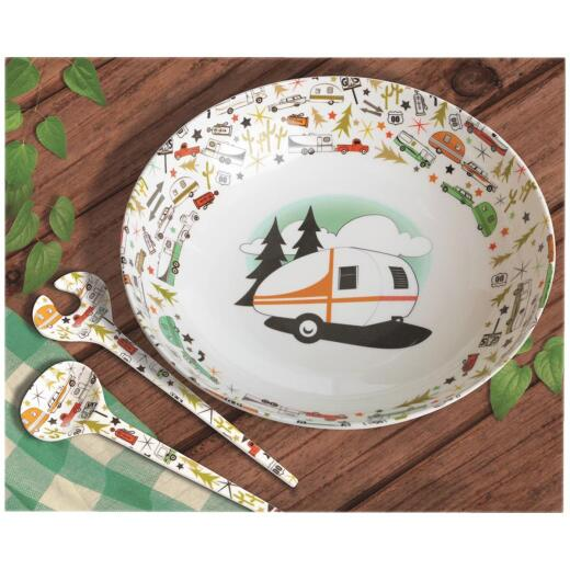 Camp Casual 100% Melamine Large Serving Bowl with Utensils (3 Piece)