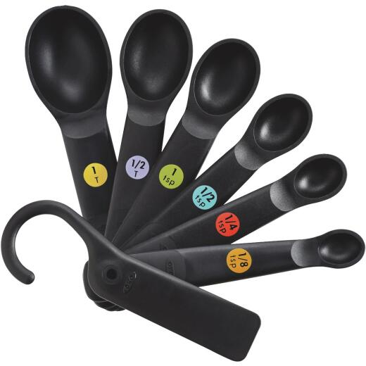 OXO Good Grips International Black Plastic Measuring Spoons (7-Piece)
