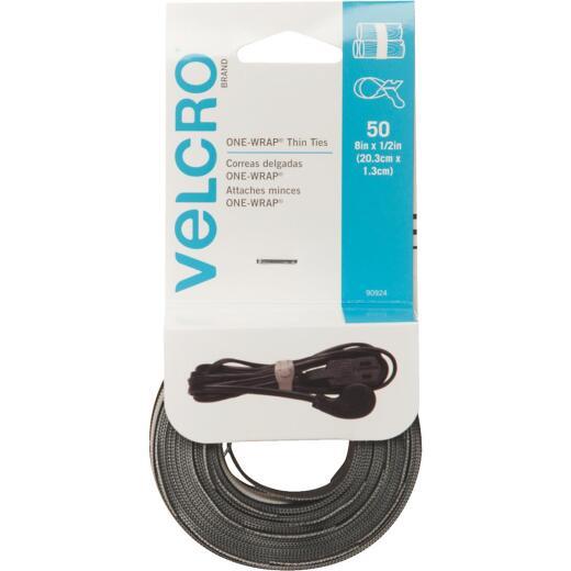 VELCRO Brand One-Wrap 1/2 In. x 8 In. Black Hook & Loop Tie (50 Ct.)