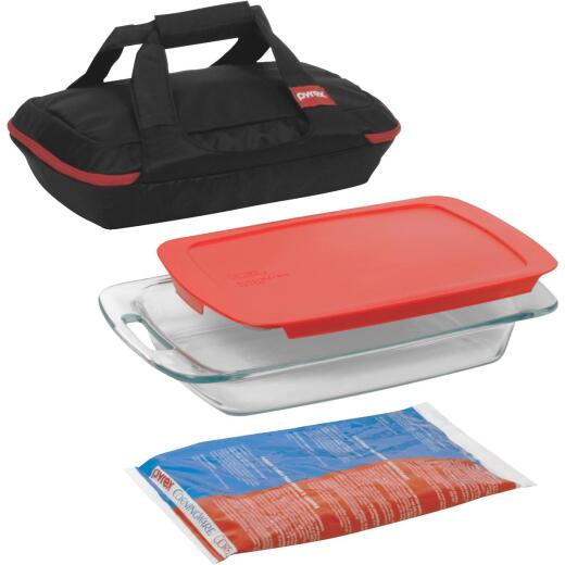 Pyrex 3 Quart Portable Bakeware Set (4-Piece)