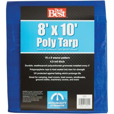 Do it Best Blue Woven 8 Ft. x 10 Ft. Medium Duty Poly Tarp