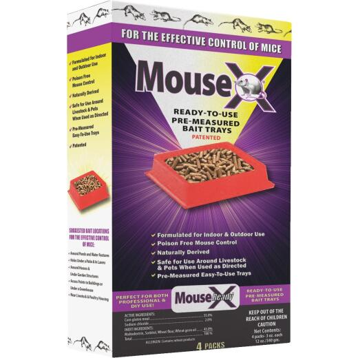 MouseX Disposable Mouse Pre-Measured Bait Tray (4-Pack)