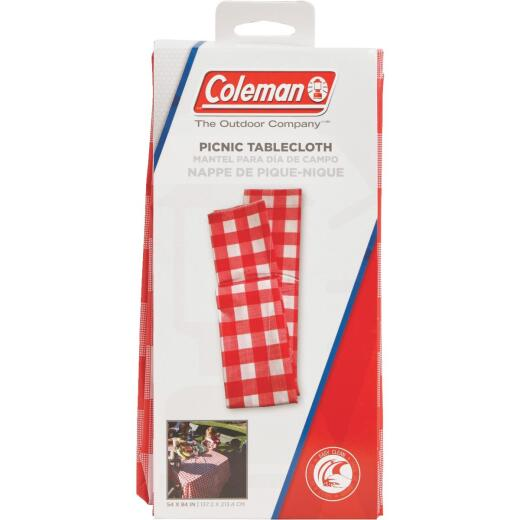 Coleman 54 In. W. x 84 In. L. Red & White Checker Vinyl Tablecloth
