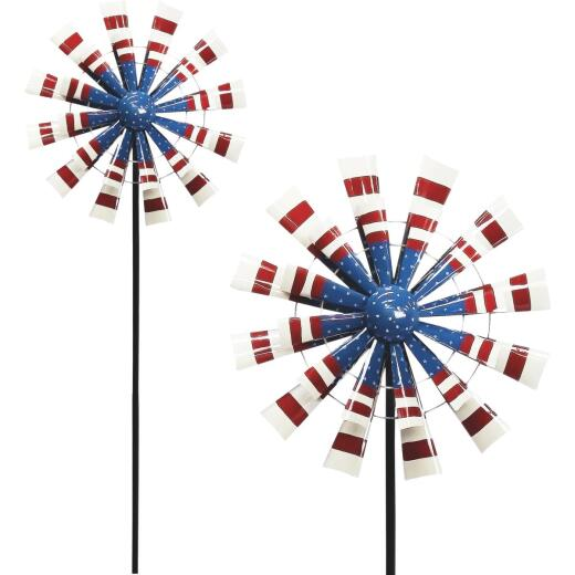 Alpine 75 In. H. Metal Patriotic Windmill Garden Stake Lawn Ornament