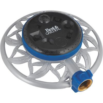 Best Garden Metal Varied Coverage Stationary Turret Sprinkler, Blue/Gray/Black