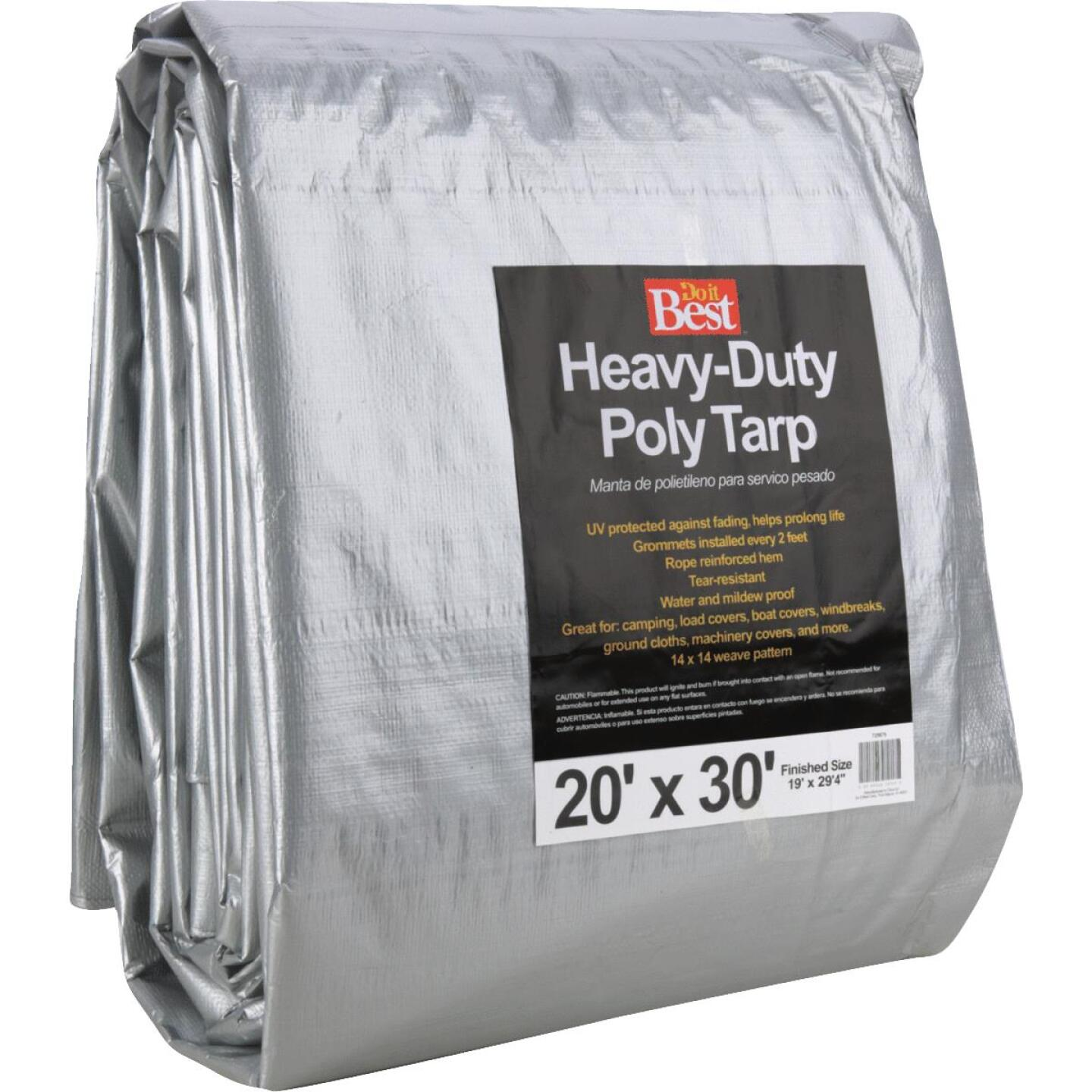 Do it Best Silver Woven 20 Ft. x 30 Ft. Heavy Duty Poly Tarp Image 2