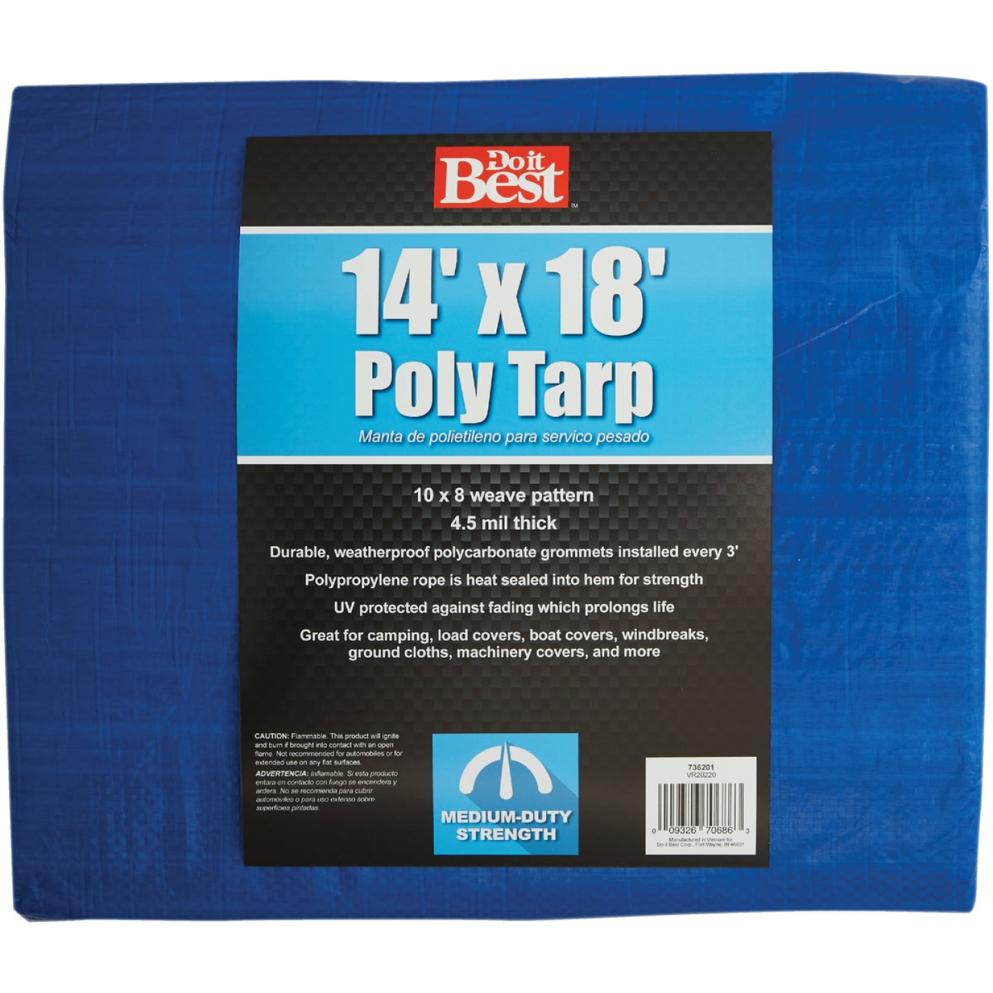 Do it Best Blue Woven 14 Ft. x 18 Ft. Medium Duty Poly Tarp Image 1