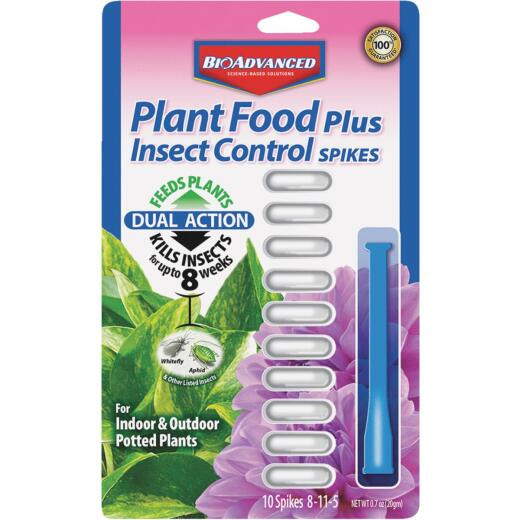 BioAdvanced 8-11-5 Dual Action Insect Control Plus Fertilizer Spike (10-Pack)