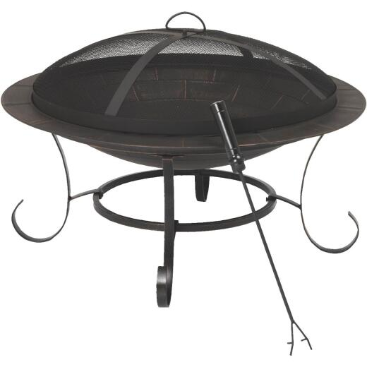 Outdoor Expressions 30 In. Antique Bronze Round Steel Fire Pit
