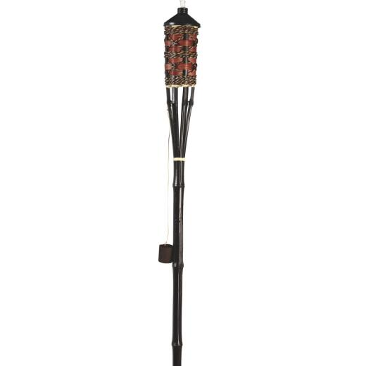 Outdoor Expressions 60 In. Brown Bamboo Patio Torch with Rattan Weave