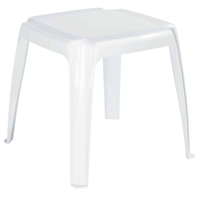 Adams White 16 In. Square Resin Side Table