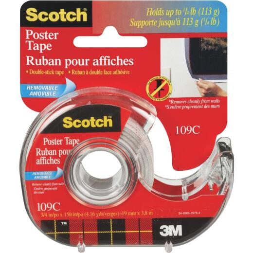 3M Scotch 3/4 In. W. x 150 In. L. Clear Removable Double-Sided Poster Mounting Tape